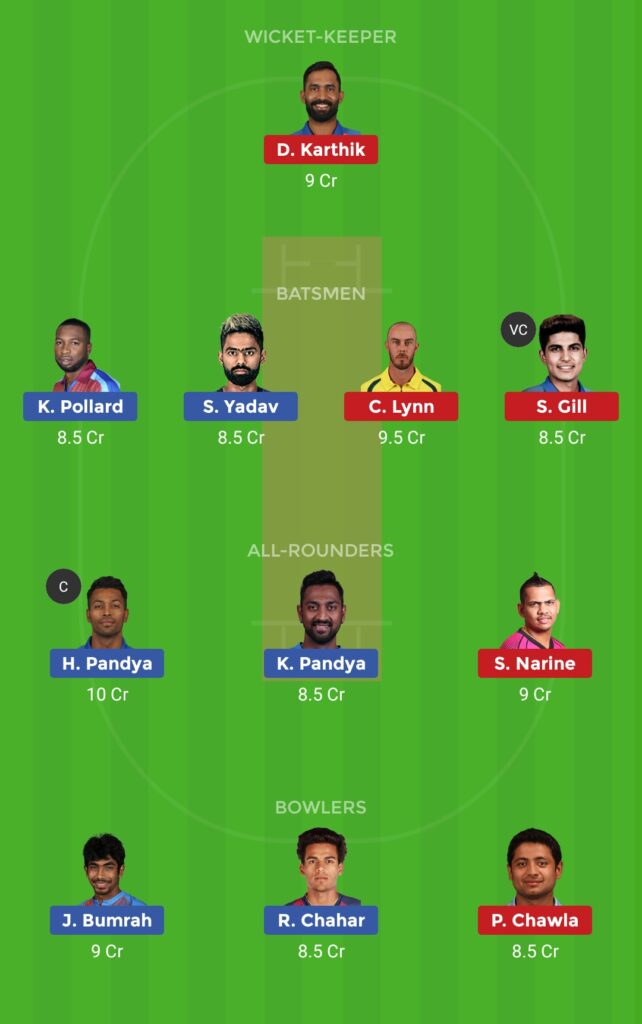 Grand League Team MI vs KKR